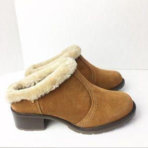 SZ 5.5 Sporto Brown Mules w/ Fur Lining
